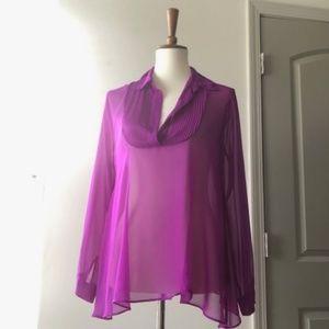 Free People Purple Pleated Sheer Georgette XS
